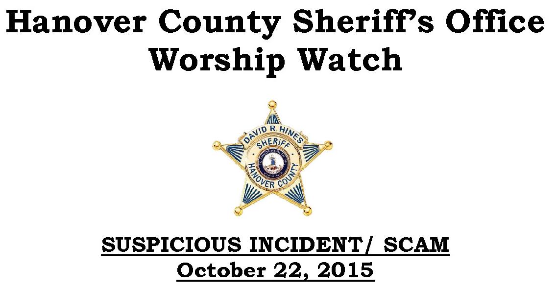 church scam alert in Hanover County Virgina